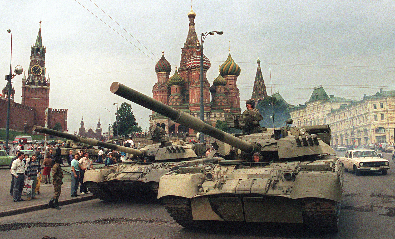 Soviet Army tanks in Moscow's Red Square in 1991 after an aborted coup.
