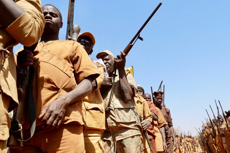 Members of the Koglweogo, a self-defense militia, attend an annual gathering in Siguinvousé, Burkina Faso, on Feb 14.