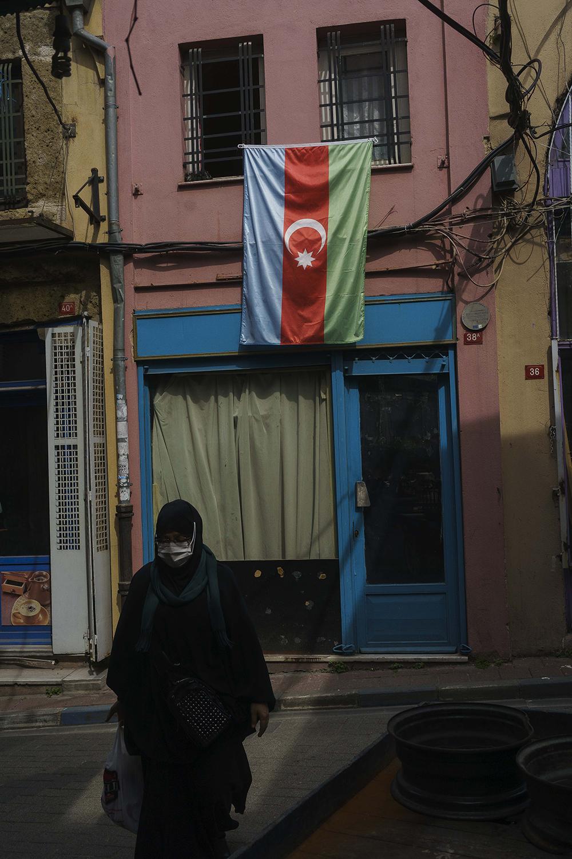 The flag of Azerbaijan is seen in Balat, Istanbul.