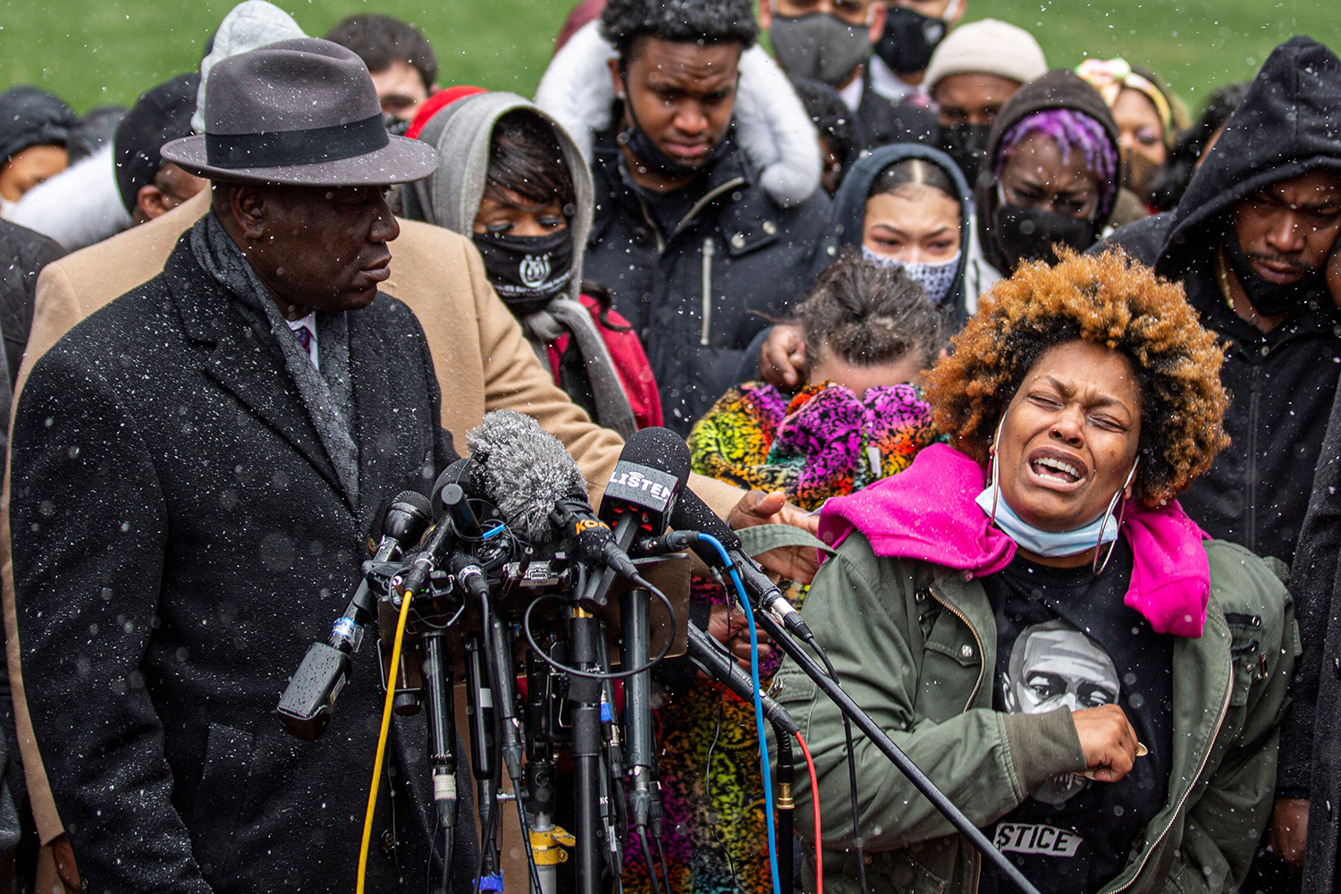 Naisha Wright, right, Daunte Wright's aunt, grieves during a press conference at the Hennepin County Government Center in Minneapolis, Minnesota, on April 13. Two days earlier, Daunte Wright was killed by police during a traffic stop. KEREM YUCEL/AFP via Getty Images