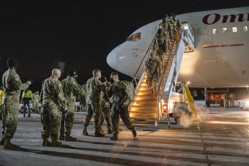 U.S. Army soldiers arrive home from Afghanistan.