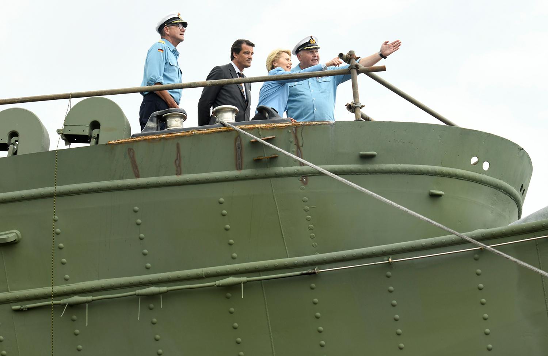 Von der Leyen, then defense minister, visits the German sailing training ship Gorch Fock at a shipyard in Bremerhaven, Germany, on June 21, 2019.