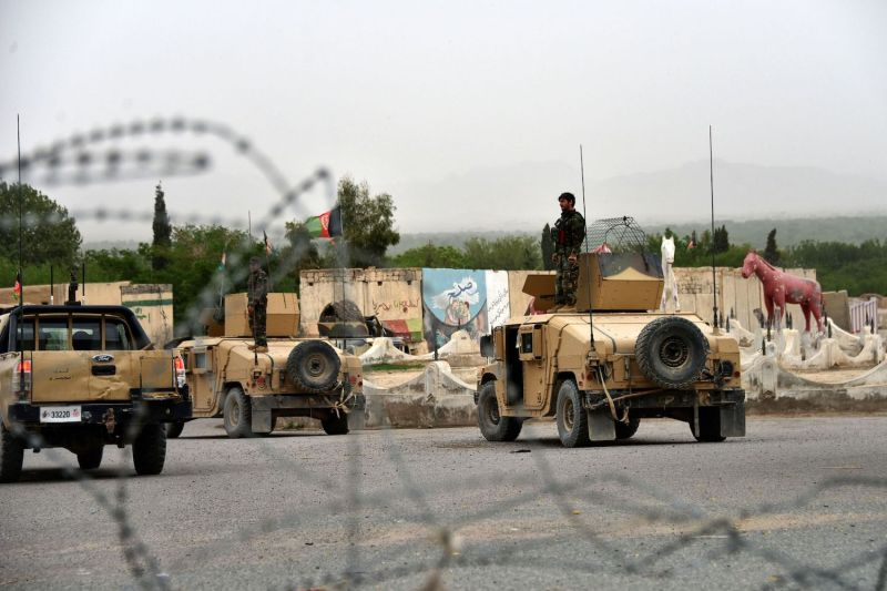 Afghan security forces conduct a military operation.