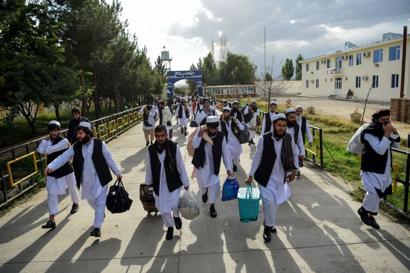 Taliban prisoners in the process of being released from Pul-e-Charkhi Prison, on the outskirts of Kabul, on July 31, 2020.