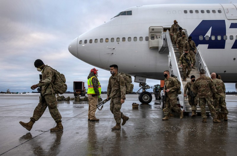 U.S. Army soldiers return home from deployment to Afghanistan.