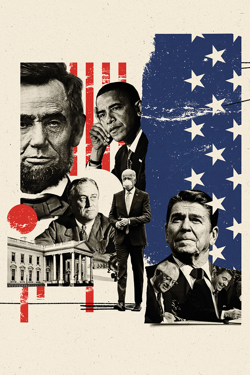 An illustration of Joe Biden and FDR alongside other troubled first-term U.S. presidents.