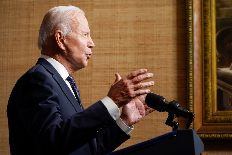 Biden speaks about the withdrawal of U.S. troops from Afghanistan in the White House.