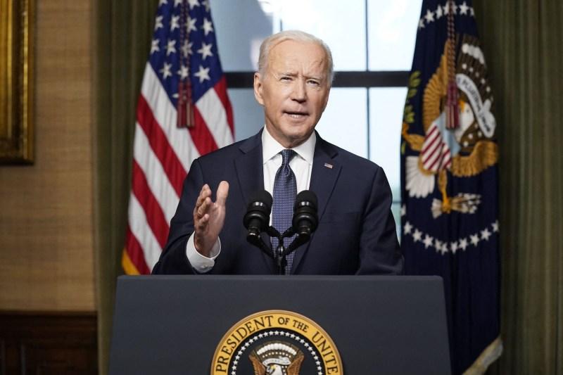U.S. President Joe Biden speaks from the Treaty Room in the White House in Washington on April 14.