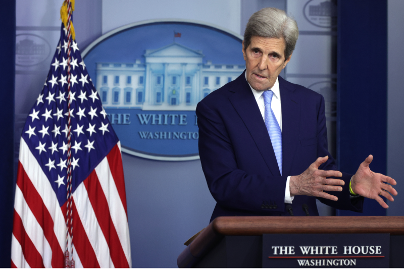 U.S. climate envoy John Kerry speaks at the White House.