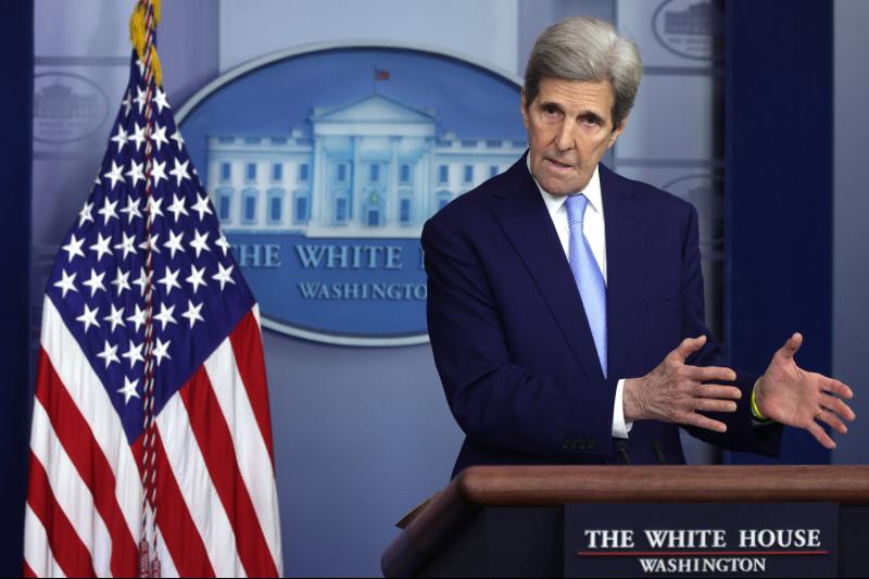 U.S. climate envoy John Kerry speaks at the White House.