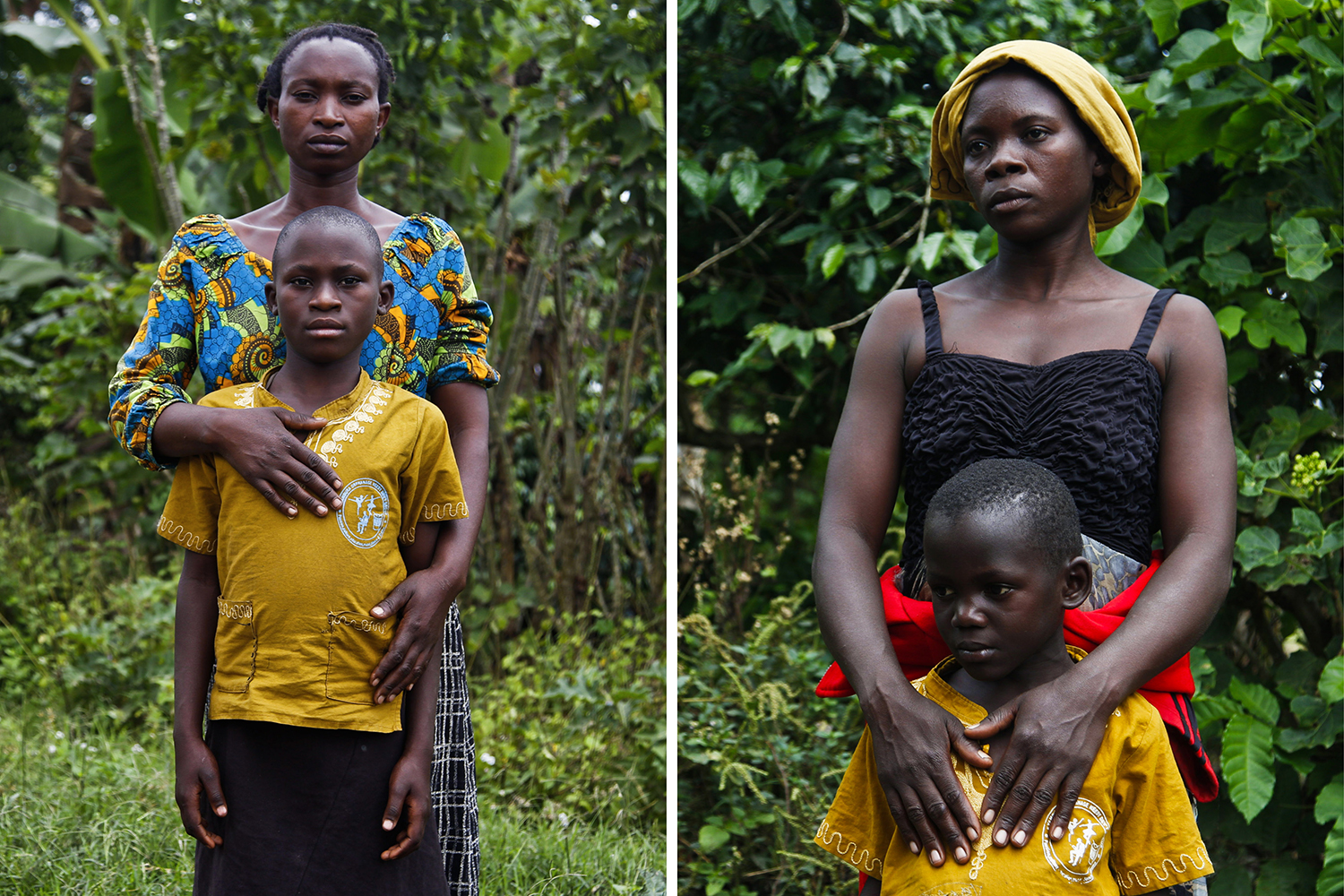Left: Martha Kabugho with her adopted daughter, Bira, on Feb. 6, 2020. The girl's father was fatally shot by rangers in Queen Elizabeth National Park. Right: Doreen Masika with her adopted son, Cedric, on Feb. 6, 2020. The boy's father was killed by a buffalo while hunting inside the park.