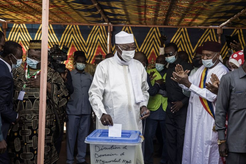 Chadian President Idriss Déby casts his ballot at a polling station in N'djamena on April 11.