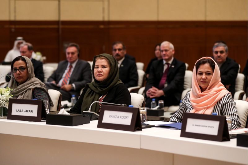 Director of Afghan Women Network, Mary Akrami, Afghan civil society and women's rights activist Laila Jafari, and member of the Wolesi Jirga Fawzia Koofi attend the Intra-Afghan Dialogue talks in Doha on July 7, 2019.
