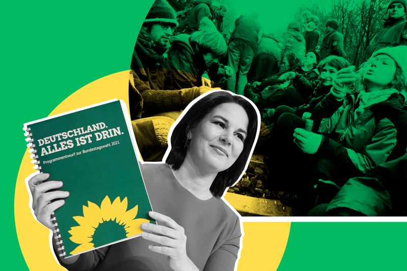 An illustration showing Greens candidate Annalene Baerbock alongside an archival photo of anti-nuclear protesters blowing soap bubbles in 2005.