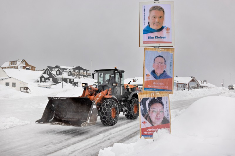 Election campaign posters are pictured in Nuuk.