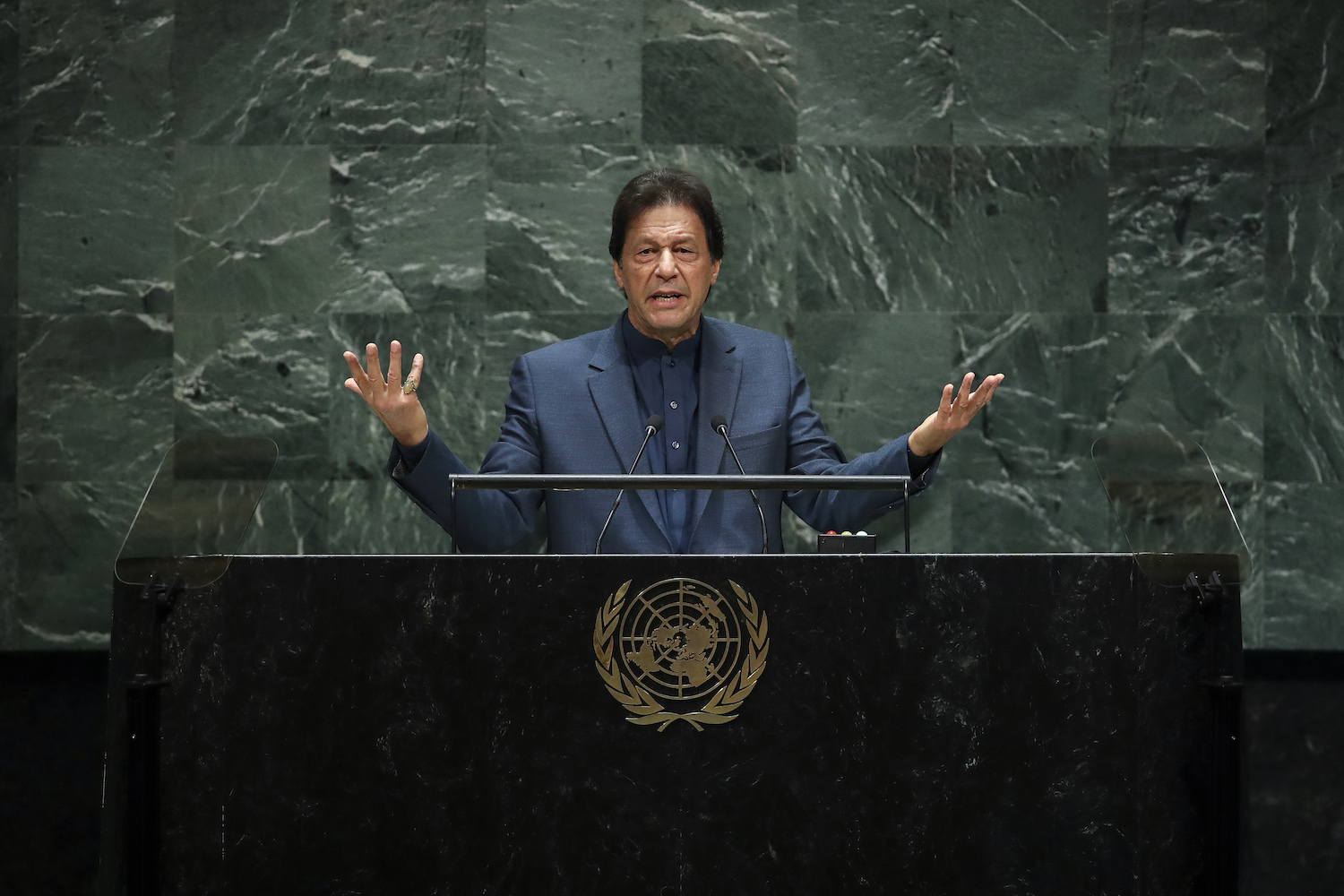 Pakistani Prime Minister Imran Khan addresses the United Nations General Assembly in New York on Sept. 27, 2019.
