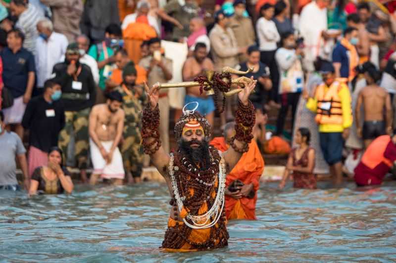 A sadhu bathes in the Ganges River in Haridwar, India, on April 12.