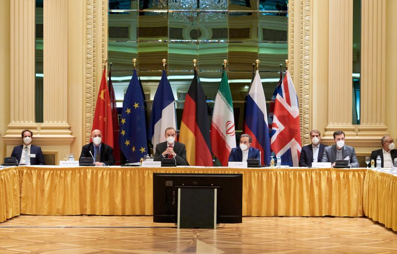 Representatives of the European Union and Iran attend nuclear talks at the Grand Hotel in Vienna on April 6.