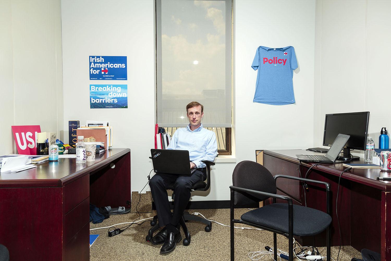 Jake Sullivan at Hillary Clinton's campaign headquarters