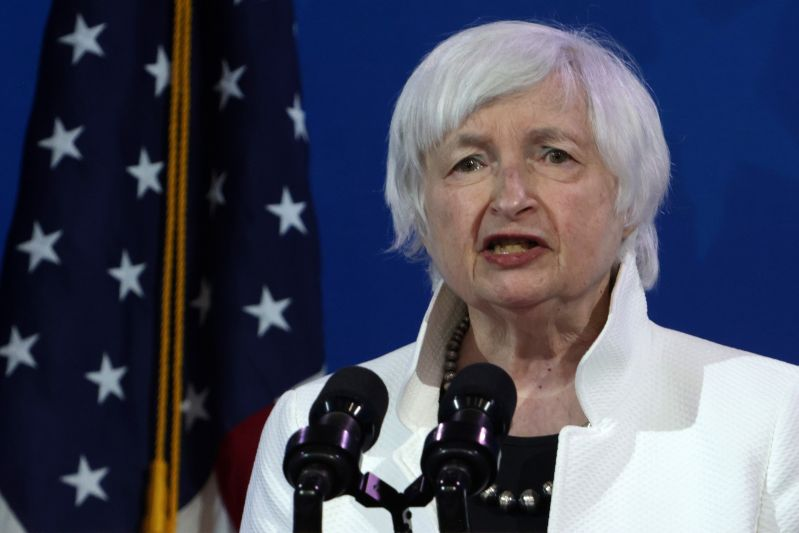 Janet Yellen speaks in Wilmington, Delaware.