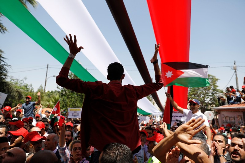 Protesters chant slogans during a rally in Amman, Jordan.