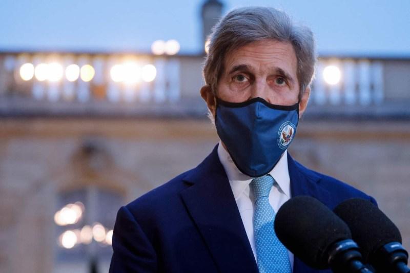 U.S. climate envoy John Kerry speaks to the press.