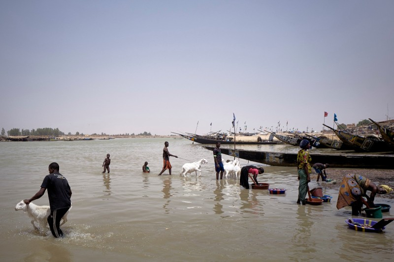 People wash clothes and rams in the Bani River in Mopti, Mali, on March 19.