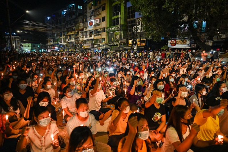 Protesters at a vigil in Myanmar.