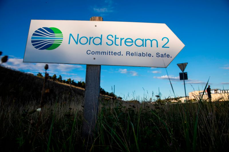 Nord Stream 2 road sign in Germany
