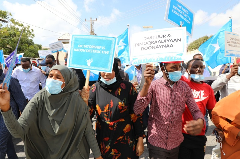 Supporters of Somali opposition presidential candidates demonstrate in Mogadishu on Feb. 19.