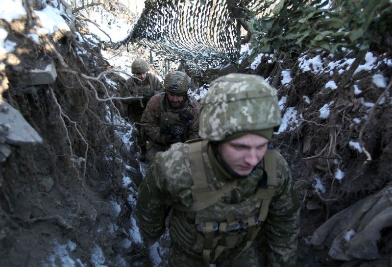 Ukrainian soldiers on the front line in Donetsk.
