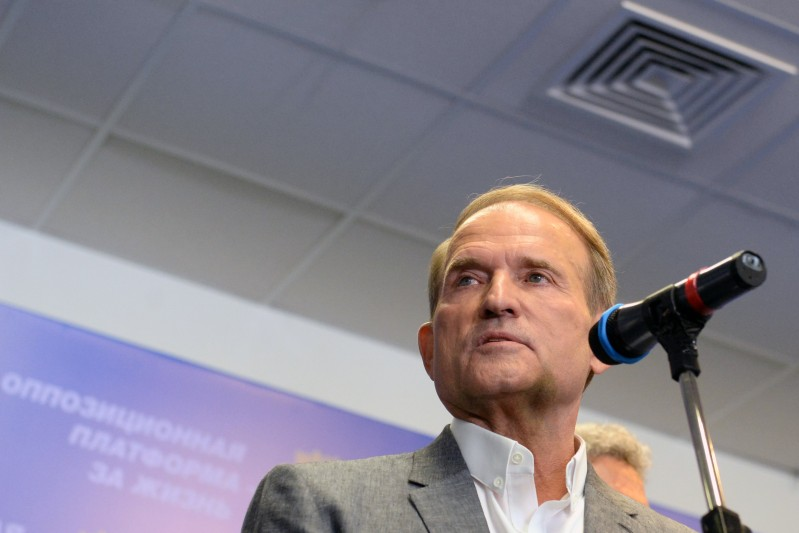 Viktor Medvedchuk gives a speech in Ukraine.