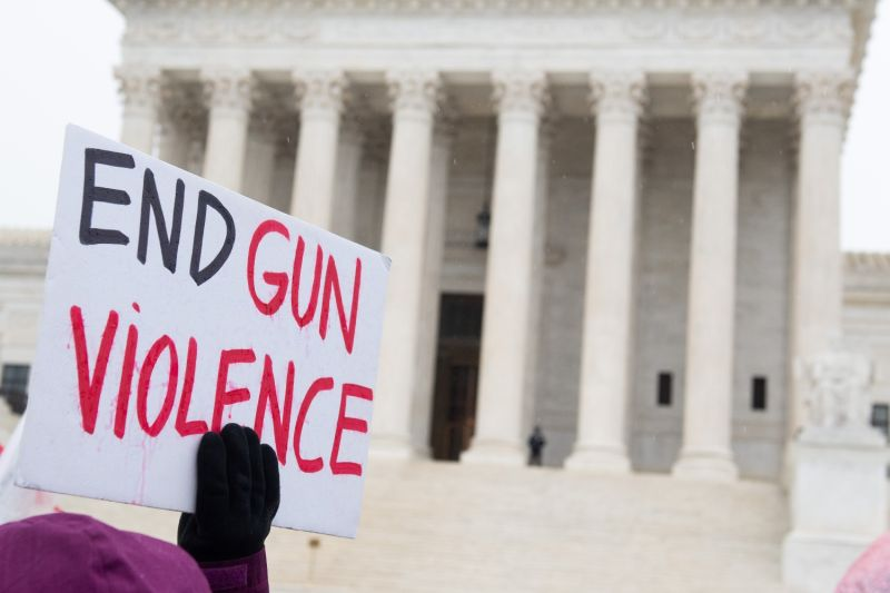 Supporters of gun control protest outside of the U.S. Supreme Court.