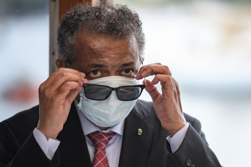 World Health Organization Director-General Tedros Adhanom Ghebreyesus wears a mask after leaving a ceremony in Geneva on June 11, 2020.