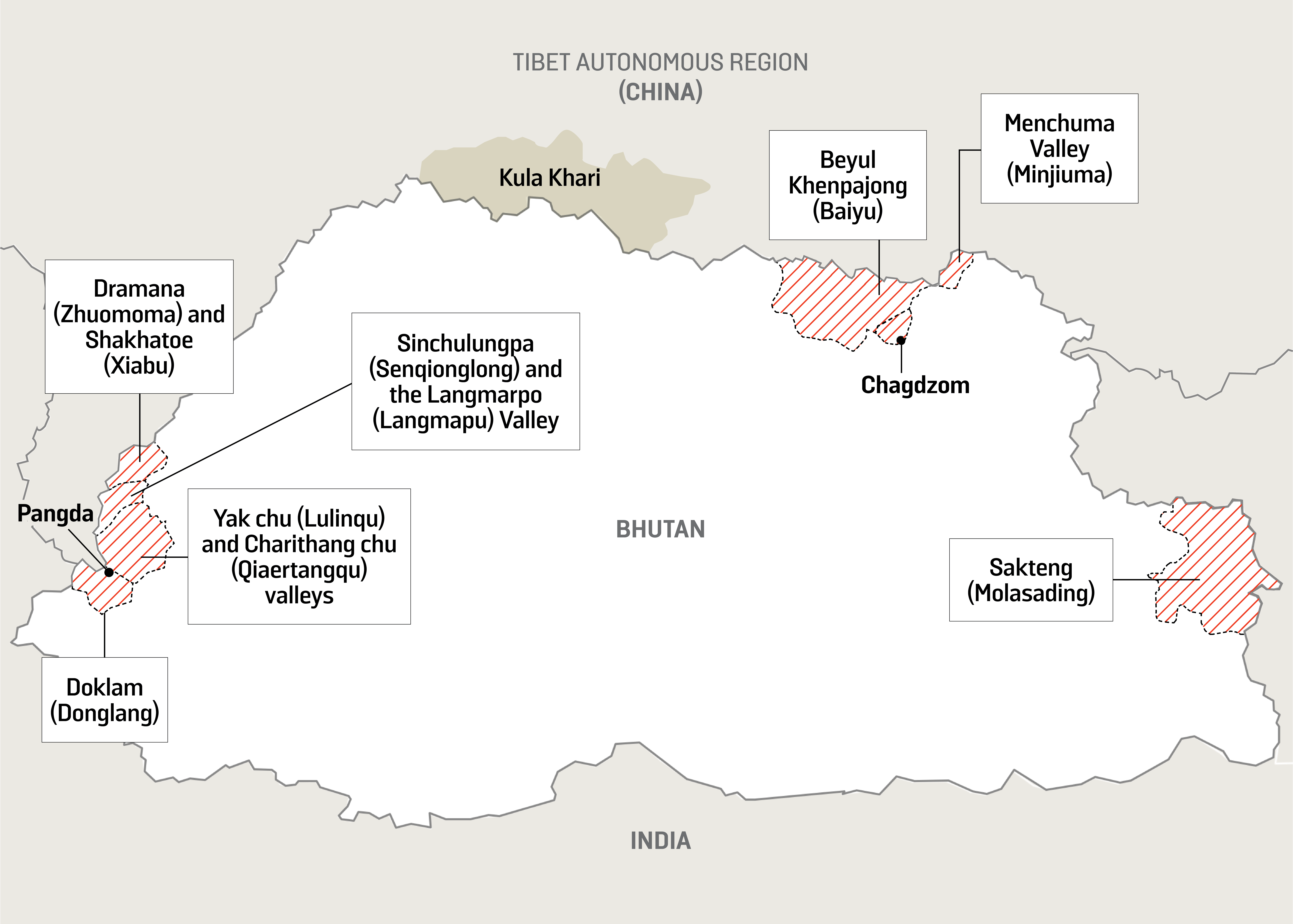 A map areas in Bhutan that China claims.