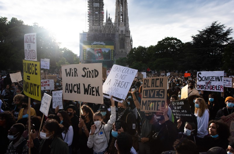 Protesters gather during a Black Lives Matter protest.
