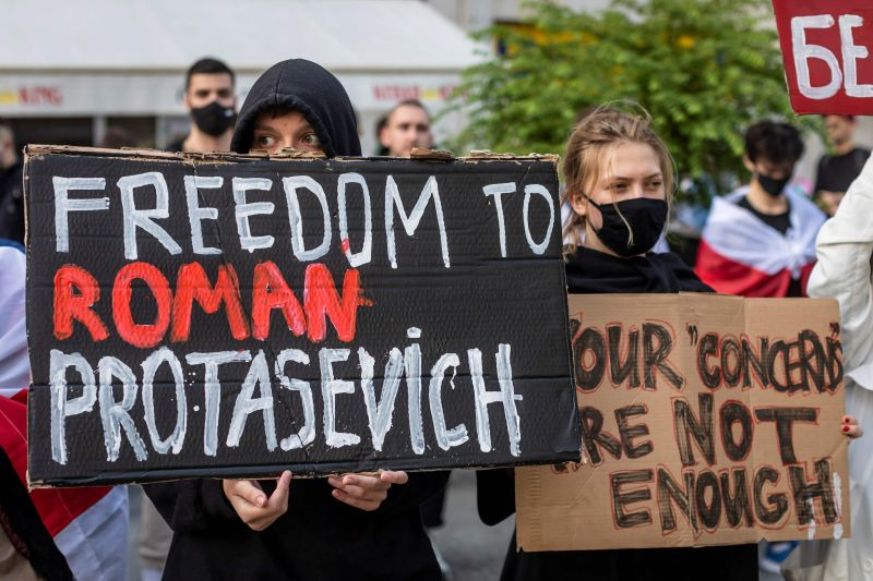 Protesters gather in Poland demanding Belarus free opposition activist Roman Protasevich.