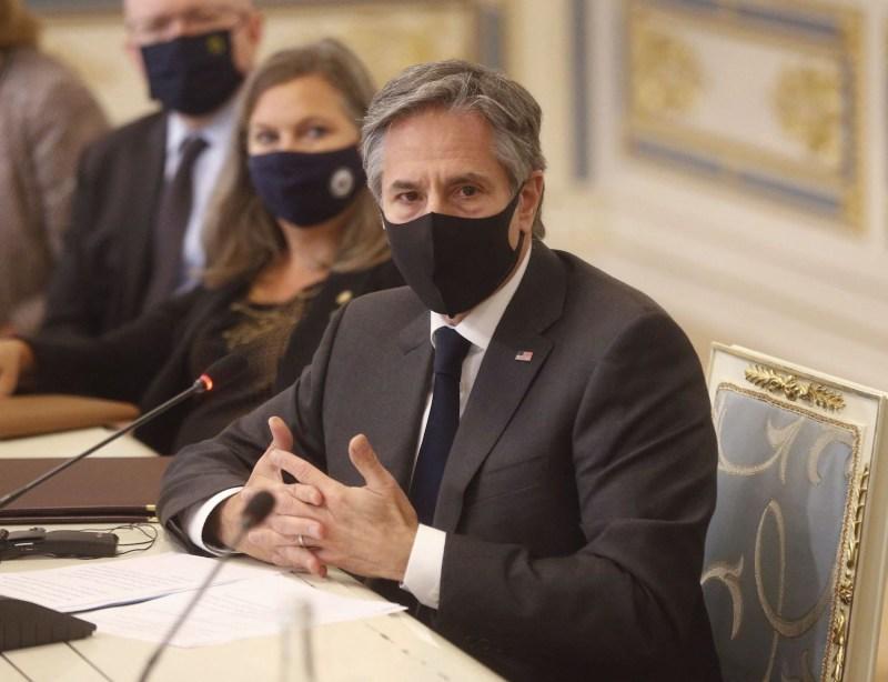 U.S. Secretary of State Antony Blinken speaks during a meeting in Kyiv on May 6.