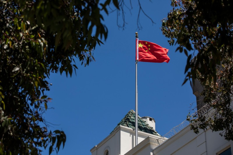 The Chinese flag flies in San Francisco.
