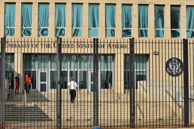 The front of the U.S. Embassy in Havana