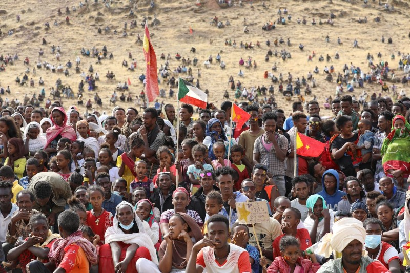Ethiopian refugees from the Tigray conflict gather at a camp in Sudan.