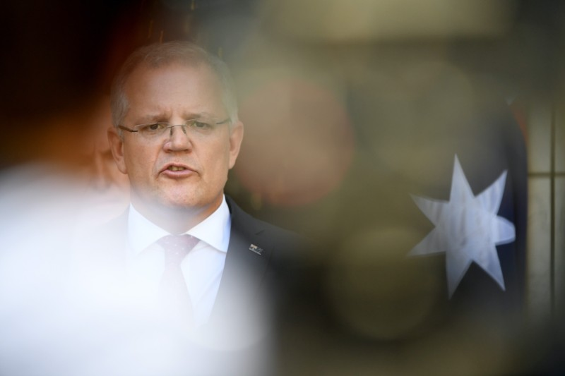 Australian Prime Minister Scott Morrison speaks to the media.