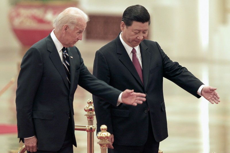 Then-Chinese Vice President Xi Jinping accompanies then-U.S. Vice President Joe Biden.