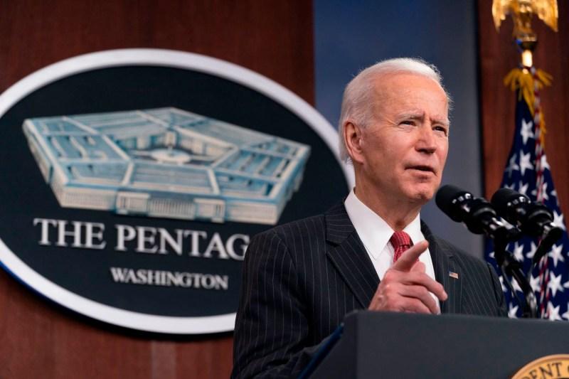 U.S. President Joe Biden speaks at the Defense Department.