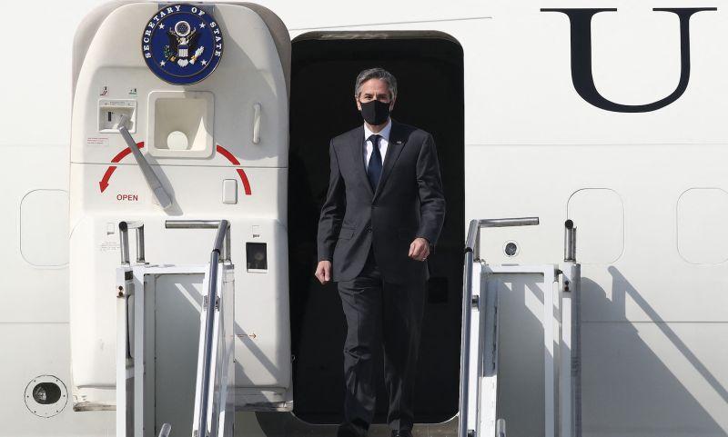 U.S. Secretary of State Antony Blinken arrives at Osan Air Base.