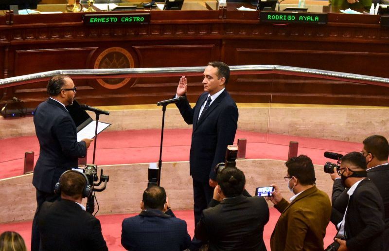 Newly appointed attorney general Rodolfo Delgado is sworn in during the first plenary session of the Legislative Assembly in San Salvador, on May 2.