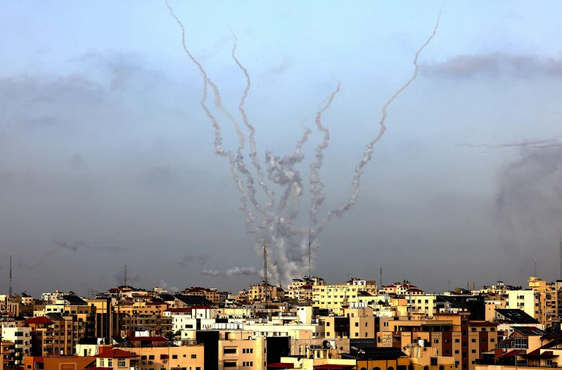 Rockets are fired from Gaza City, controlled by the Palestinian Islamist movement Hamas, toward Israel on May 10.