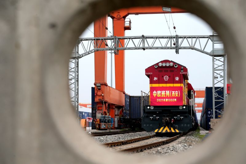 A train leaves Xian International Port in Shaanxi province, China, for Kazakhstan on April 13.