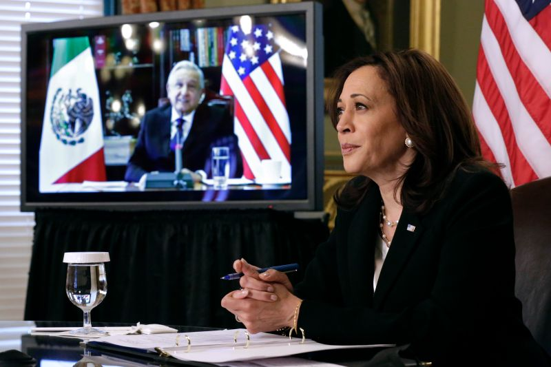 U.S. Vice President Kamala Harris conducts a bilateral meeting with Mexican President Andrés Manuel López Obrador.