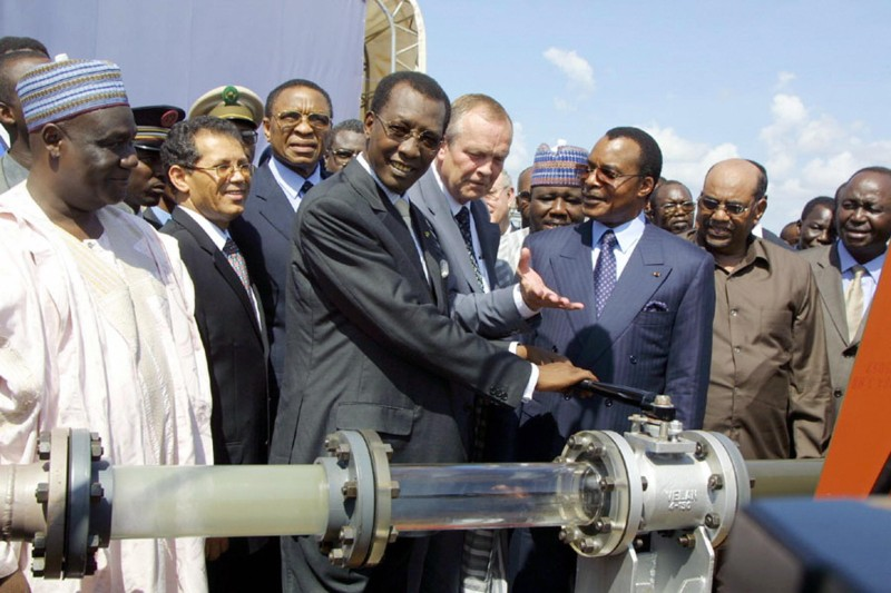 Congolese President Denis Sassou Nguesso helps open a 1,000-kilometer (660-mile) oil pipeline in Kome, Chad on Oct. 10, 2003.